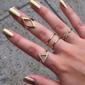 💧 Silver Link Ring Band Set